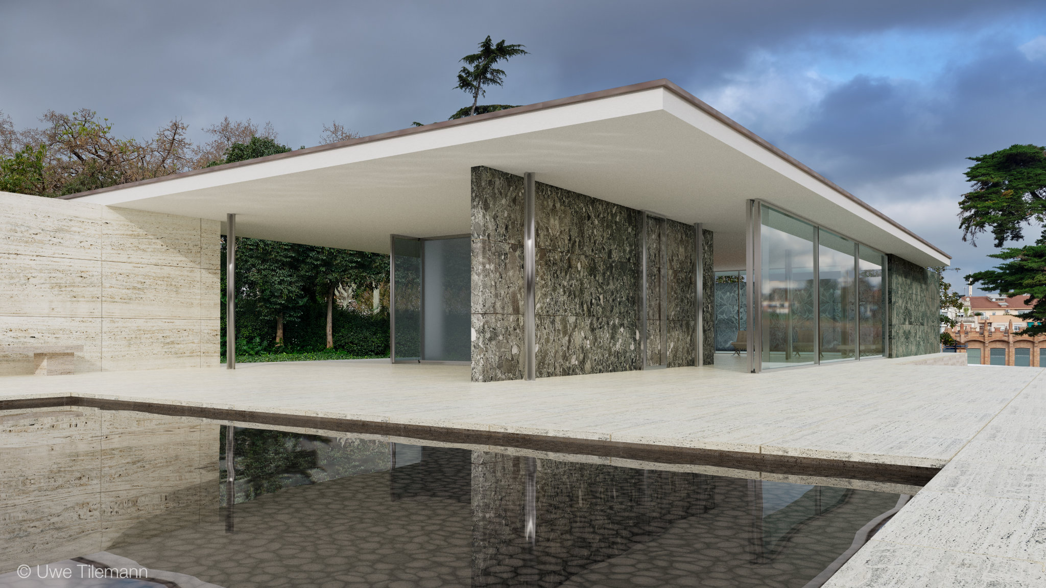 Rendering of the Barcelona Pavilion. Materials created with PBRtist.